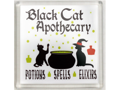 10cm Coaster - Black Cat Apothecary